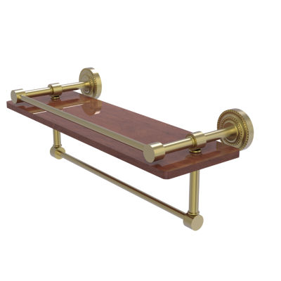 Allied Brass Dottingham Collection 16 IN Ipe Ironwood Shelf With Gallery Rail And Towel Bar