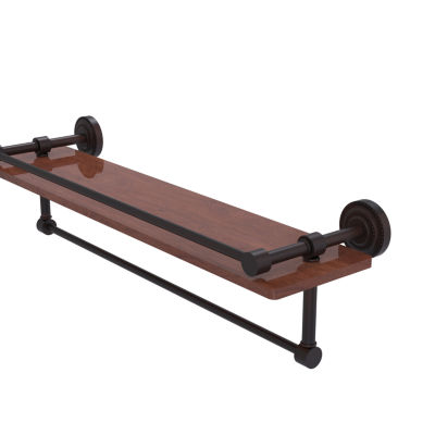 Allied Brass Dottingham Collection 22 IN Ipe Ironwood Shelf With Gallery Rail And Towel Bar