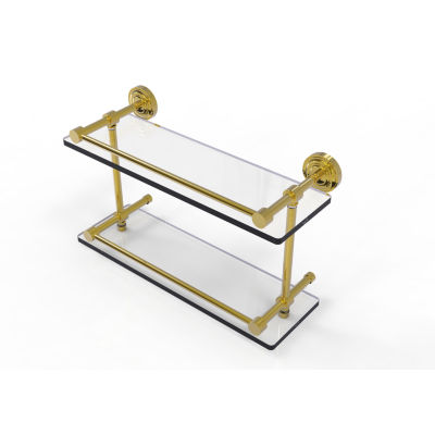 Allied Brass Dottingham 16 IN Double Glass Shelf With Gallery Rail