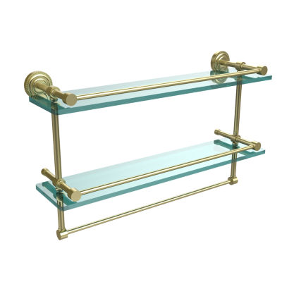 Allied Brass Dottingham 22 IN Gallery Double GlassShelf With Towel Bar