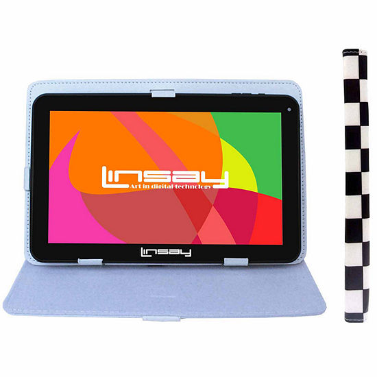 "LINSAY 10.1"" Quad-Core 2GB RAM 16GB Android 9.0 Pie Tablet with Squares Standing Case"