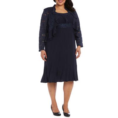 R & M Richards Lace Jacket Dress-Plus