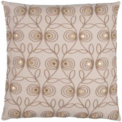 "Donny Osmond By Rizzy Home Floral 20"" X 20"" Beige Decorative Filled Pillow"