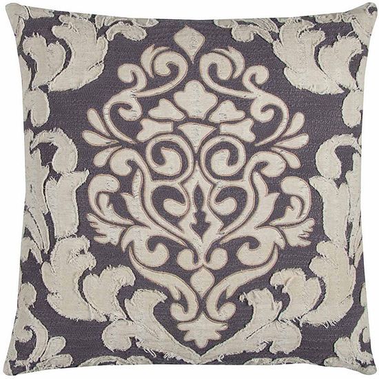 """Donny Osmond By Rizzy Home Floral 20"""" X 20"""" Ivory Decorative Filled Pillow"""