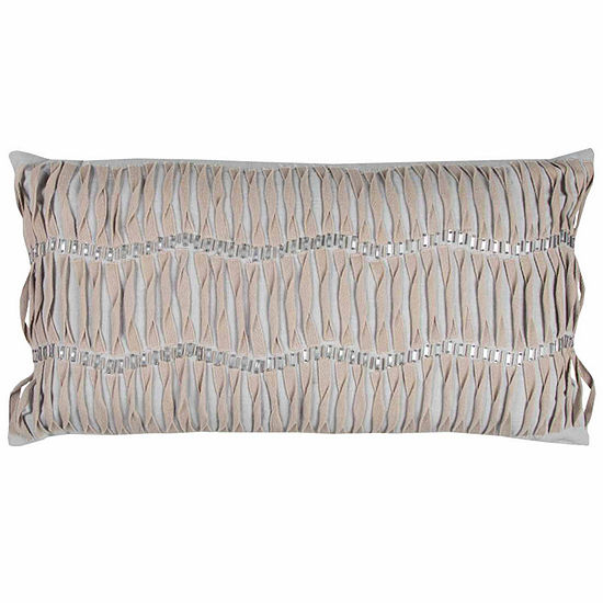 "Donny Osmond By Rizzy Home Vertical Deconstructed Stripe 14"" X 26"" Light Grey Decorative Filled Pillow"