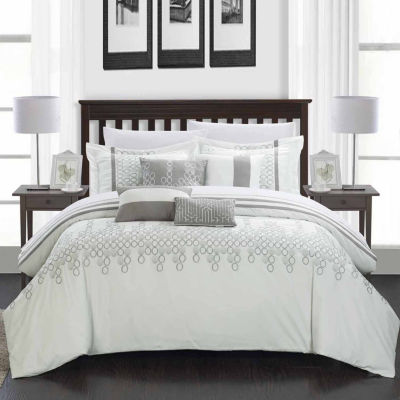 Chic Home Lauren 8-pc. Midweight Embroidered Comforter Set