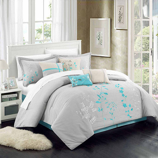 Chic Home Bliss Garden 8-pc. Midweight Embroidered Comforter Set
