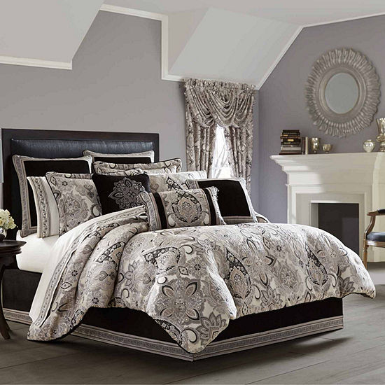 Queen Street Giselle 4-pc. Damask + Scroll Heavyweight Comforter Set