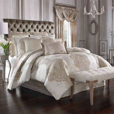 Queen Street Lambert 4-pc. Damask + Scroll Midweight Comforter Set
