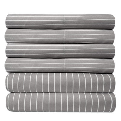 Sweet Home Collection 6-Piece 1500 Thread Count Egyptian Quality Deep Pocket Bed Sheet Set Pinstripe