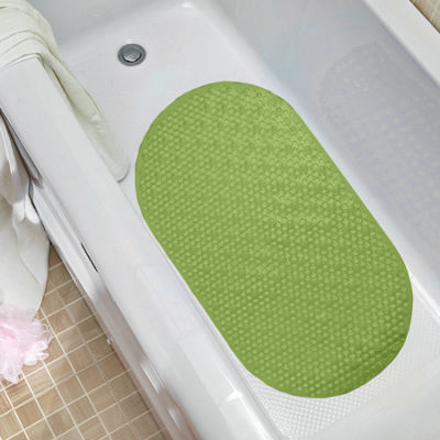 Non Slip Oval Bubble 27 x 15.5 Vinyl Bath Tub MatWith Safety Suction Cups
