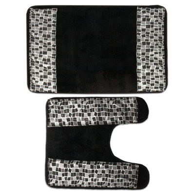 Popular Mosaic Stone Black Spice Bathroom Banded Bath & Contour Rug Set