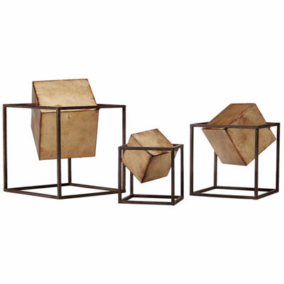 Madison Park Asher Gold Set of 3 Cubes Décor