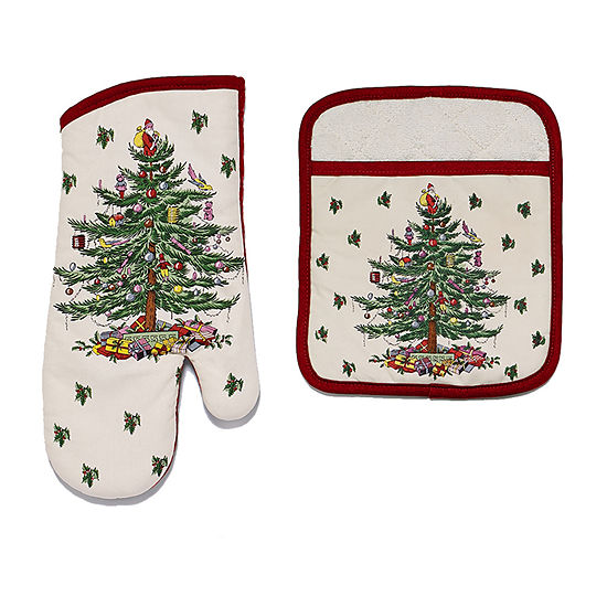 Avanti Spode Red Christmas Tree 2-pc. Mitt + Pot Holders