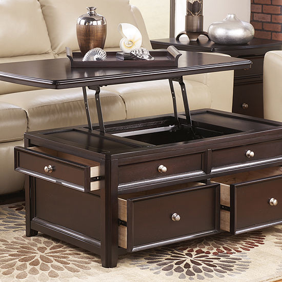 Small Coffee Tables That Lift Up: Signature Design By Ashley Carlyle 4-Drawer Lift-Top