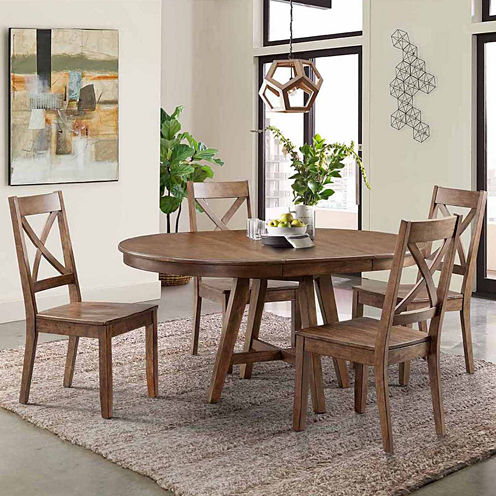 Dining Possibilities 5 Piece Round Table With X Back Chairs