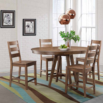 Dining Possibilities 5-Piece Round Counter Height Table with Ladder Back Stools