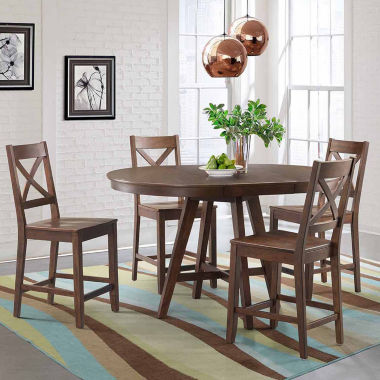 Dining Possibilities 5-Piece Round Counter Height Table with X-Back Stools