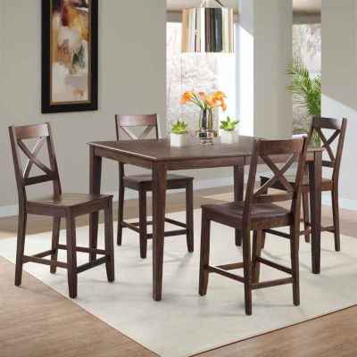 Dining Possibilities 5-Piece Rectangular Counter Height Table with X-Back Stools