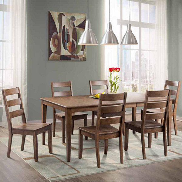 Dining Possibilities 7-Piece Rectangular Table with Ladder Back ...