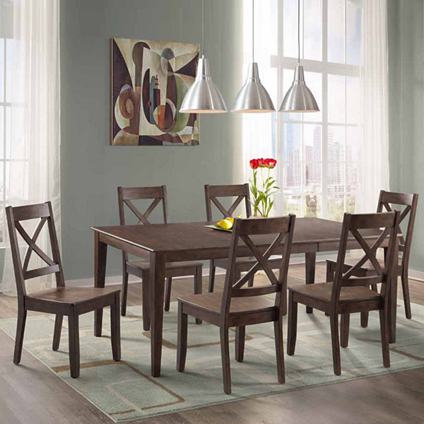 Dining Possibilities 7-Piece Rectangular Table with X-Back Chairs ...