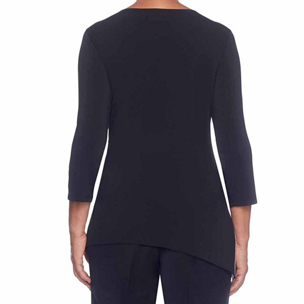 Alfred Dunner High Roller 3/4 Sleeve Crew Neck T-Shirt-Womens