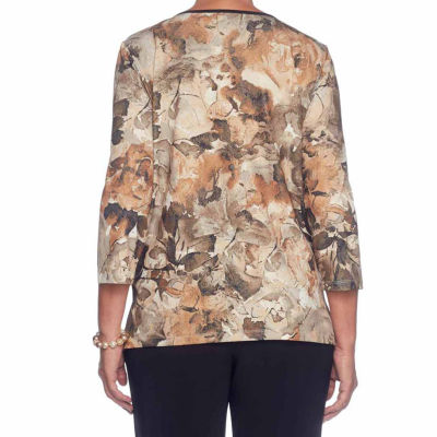 Alfred Dunner Deck The Halls 3/4 Sleeve Crew Neck Floral T-Shirt-Womens