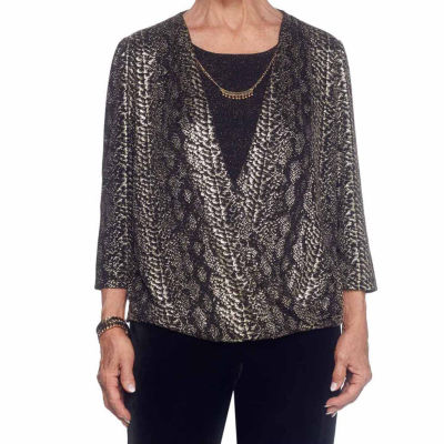 Alfred Dunner Deck The Halls 3/4 Sleeve Crew Neck T-Shirt-Womens