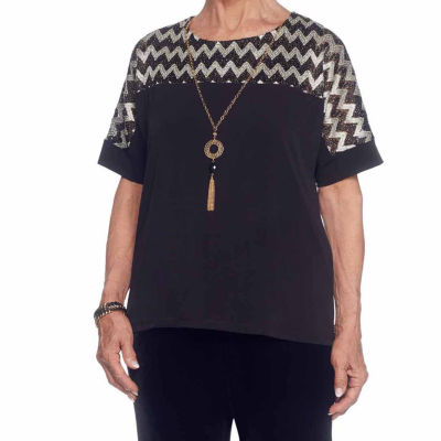 Alfred Dunner Deck The Halls Short Sleeve Crew Neck Chevron T-Shirt-Womens