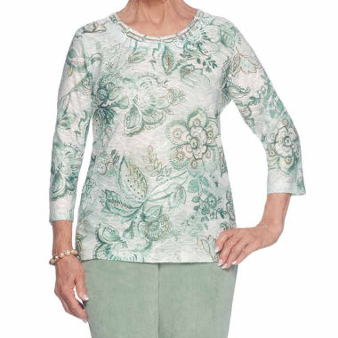 Alfred Dunner Winter Garden 3/4 Sleeve Crew Neck T-Shirt-Womens