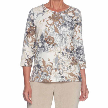 Alfred Dunner Eskimo Kiss 3/4 Sleeve Crew Neck Floral T-Shirt-Womens