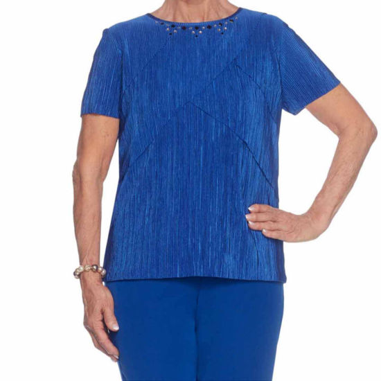Alfred Dunner High Roller Short Sleeve Crew Neck T-Shirt-Womens