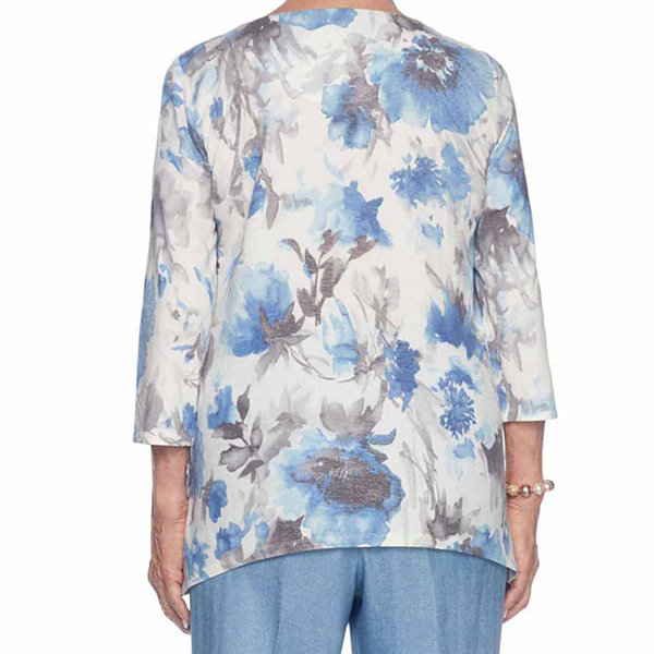Alfred Dunner Silver Belles 3/4 Sleeve Round Neck Floral T-Shirt-Womens