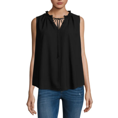 a.n.a Sleeveless Woven Blouse with Keyhole Tie Neck