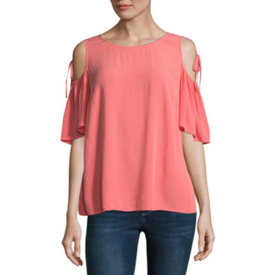 a.n.a Ana Tie Sleeve Cold Shoulder Short Sleeve Crew Neck Woven Blouse