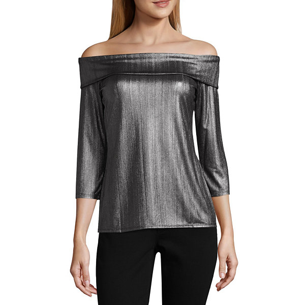 City Streets 3/4 Sleeve Scoop Neck Knit Blouse