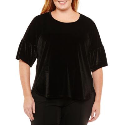 Liz Claiborne Velvet Tulip Sleeve T-Shirt-Womens Plus