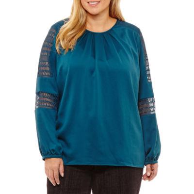 Liz Claiborne Lace Sleeve Pleat Neck Blouse-Plus