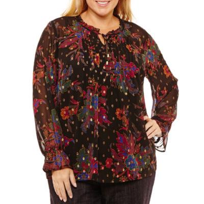 Liz Claiborne Long Sleeve Ruffle Tie Neck Floral Blouse-Plus