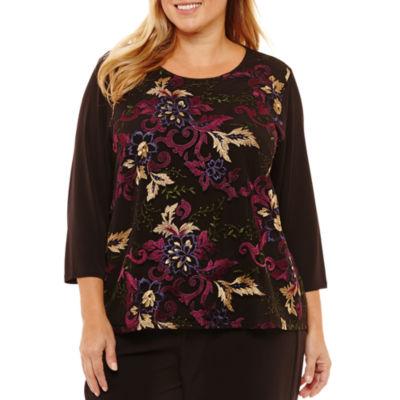 Liz Claiborne 3/4 Sleeve Embroidered Blouse-Womens Plus