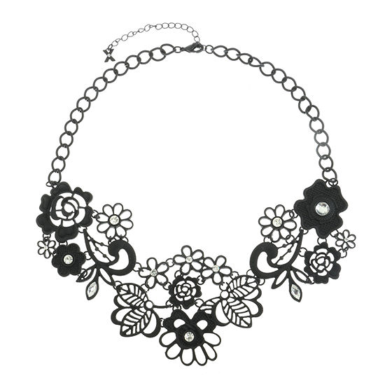 Mixit Black 19 Inch Cable Flower Collar Necklace