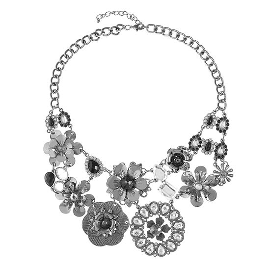 Mixit Black 17 Inch Cable Flower Collar Necklace