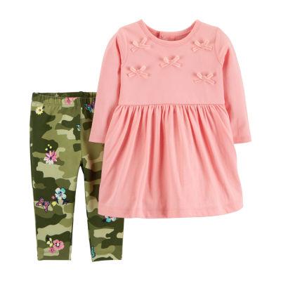 Carter's 2 Pc. Long Sleeve A-Line Dress - Baby Girls