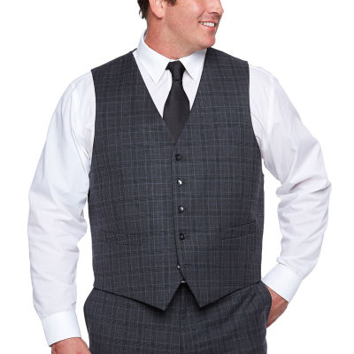 Shaquille O'Neal XLG Gray Plaid Stretch Suit Vest - Big and Tall