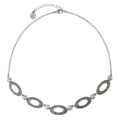 Liz Claiborne Womens Gray Oval Collar Necklace