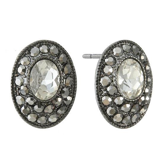 Liz Claiborne Gray 18mm Oval Stud Earrings