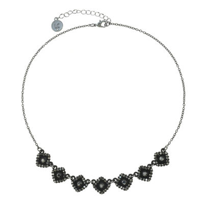 Liz Claiborne Womens Gray Square Collar Necklace