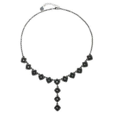 Liz Claiborne Womens Gray Square Y Necklace