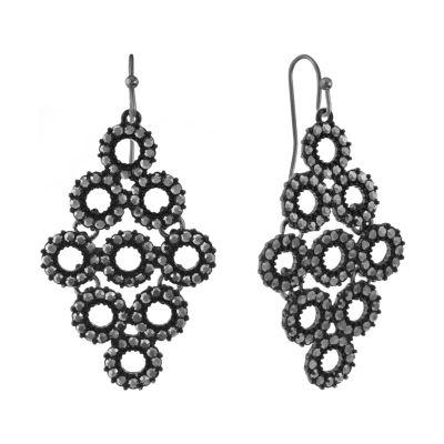 Liz Claiborne Gray Round Chandelier Earrings