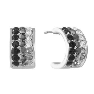 Liz Claiborne Gray 12mm Hoop Earrings
